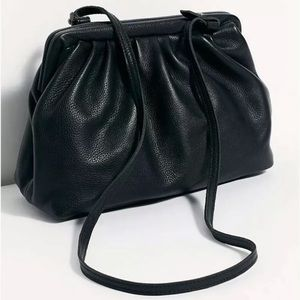 New Free People Eco Leather Black Clutch Bag